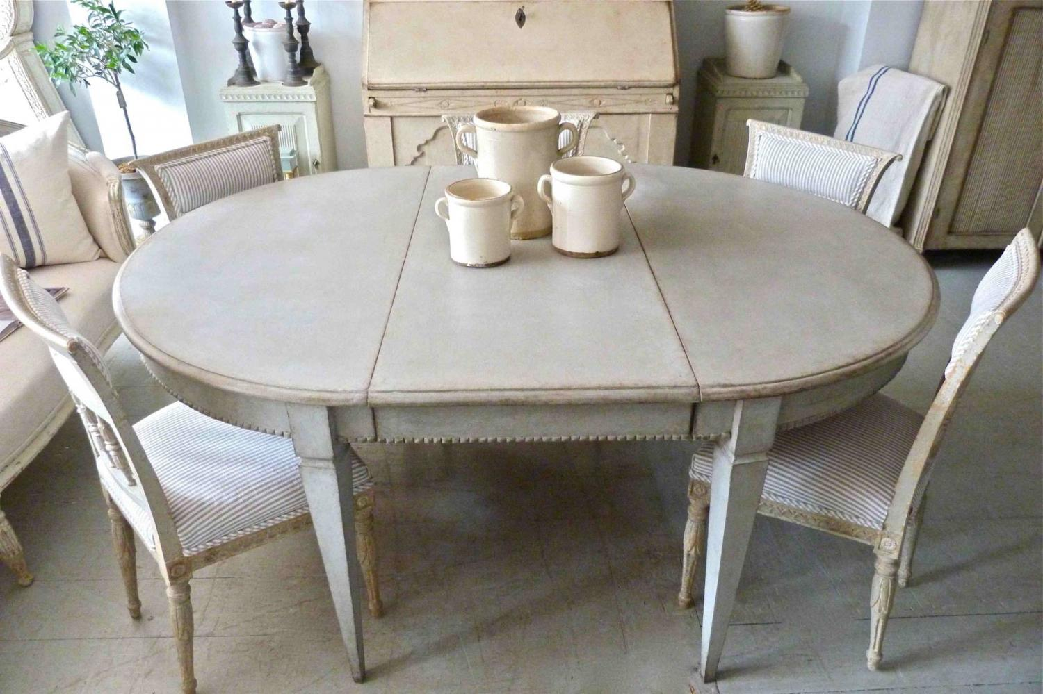 Antique swedish gustavian style dining table in furniture for Swedish style dining chairs