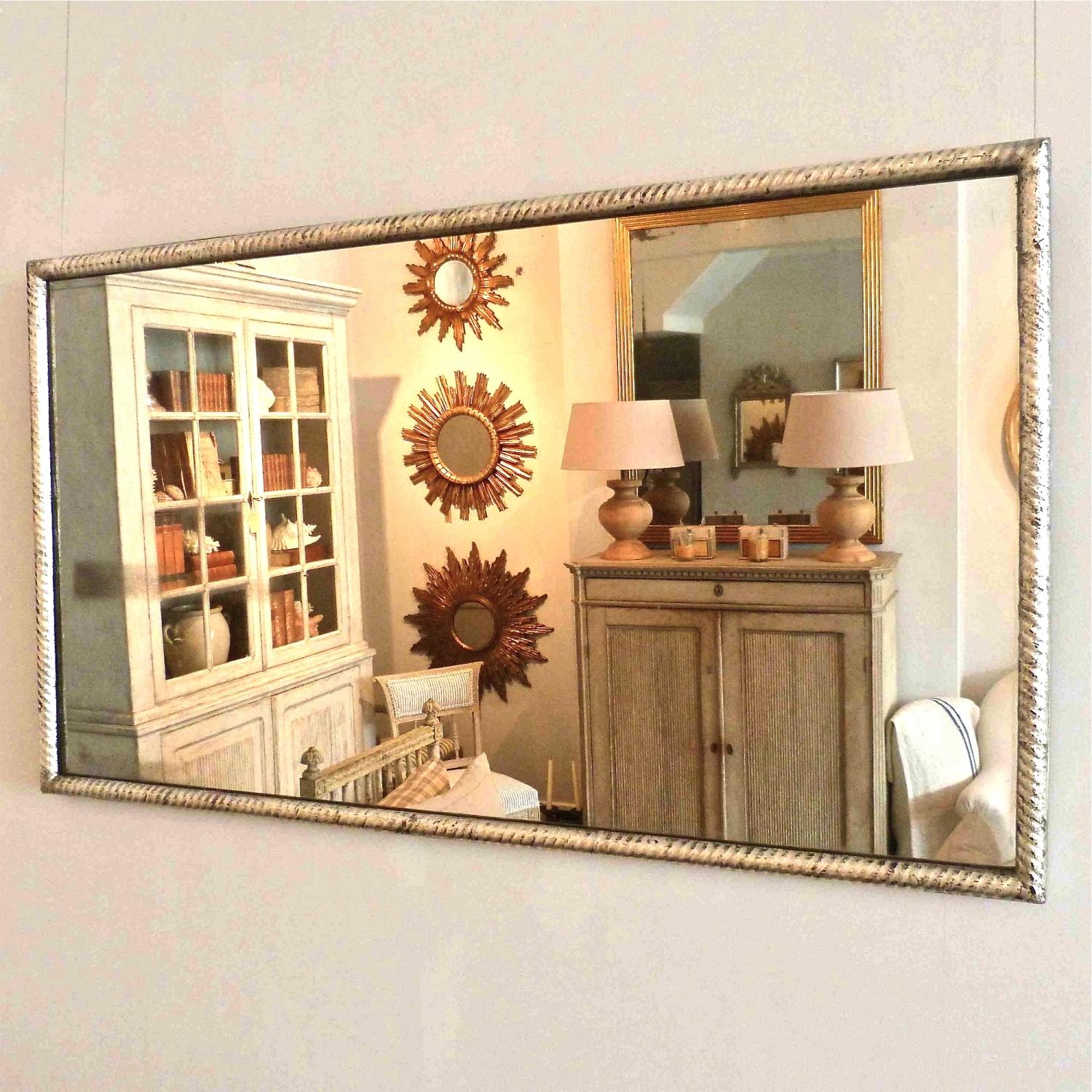 FRENCH BISTRO MIRROR WITH ORIGINAL MERCURY GLASS