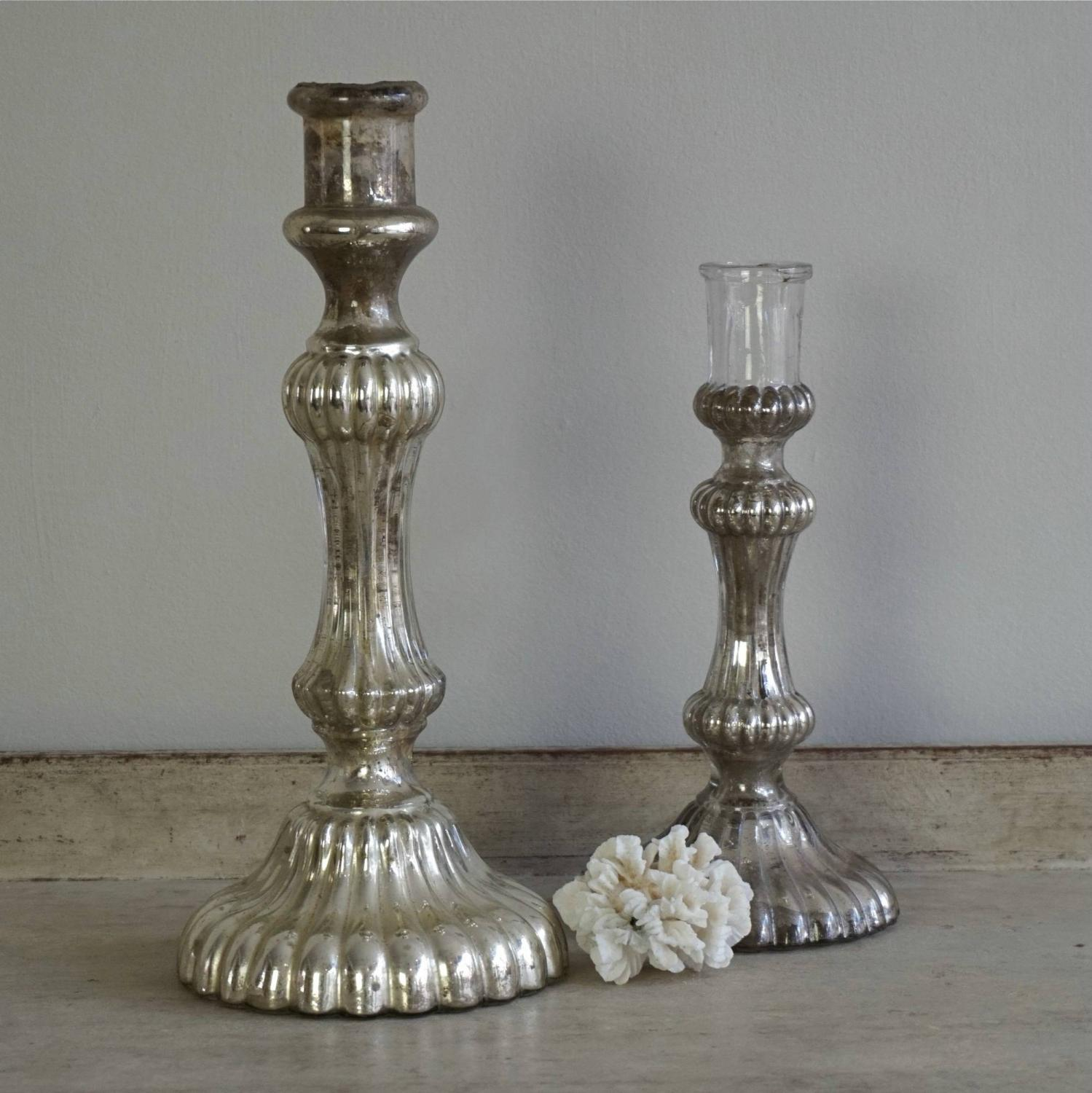 TWO 19TH CENTURY RIPPLED MERCURY GLASS CANDLESTICKS