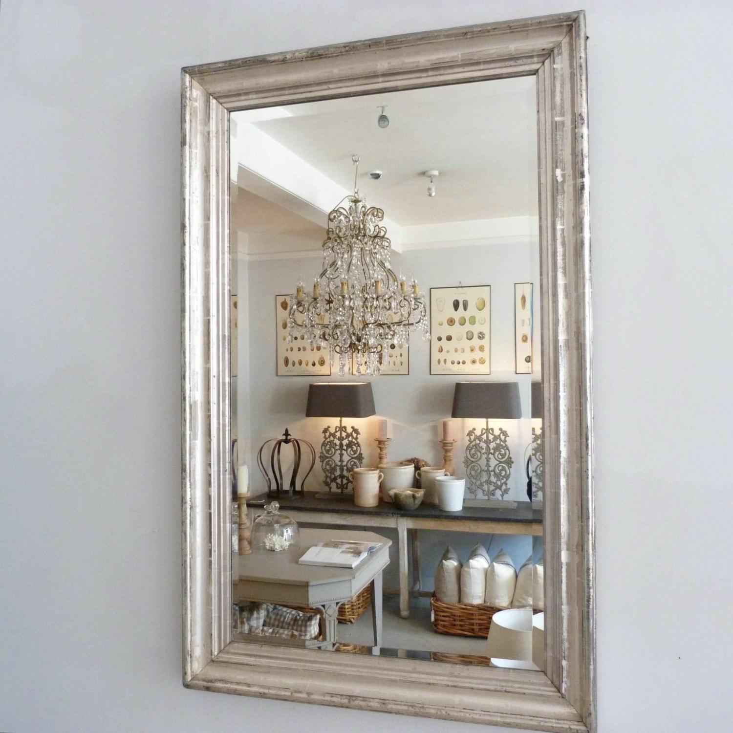 19TH CENTURY SILVER FRAMED FRENCH MIRROR