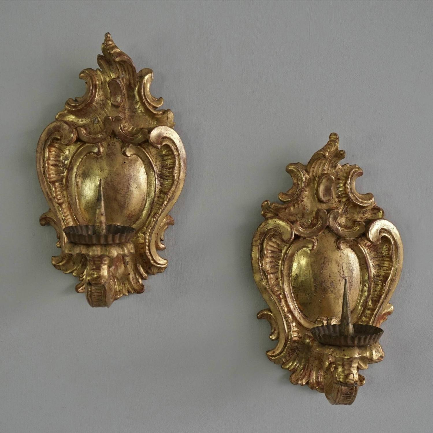 PAIR OF 18TH CENTURY BAROQUE WALL SCONCES