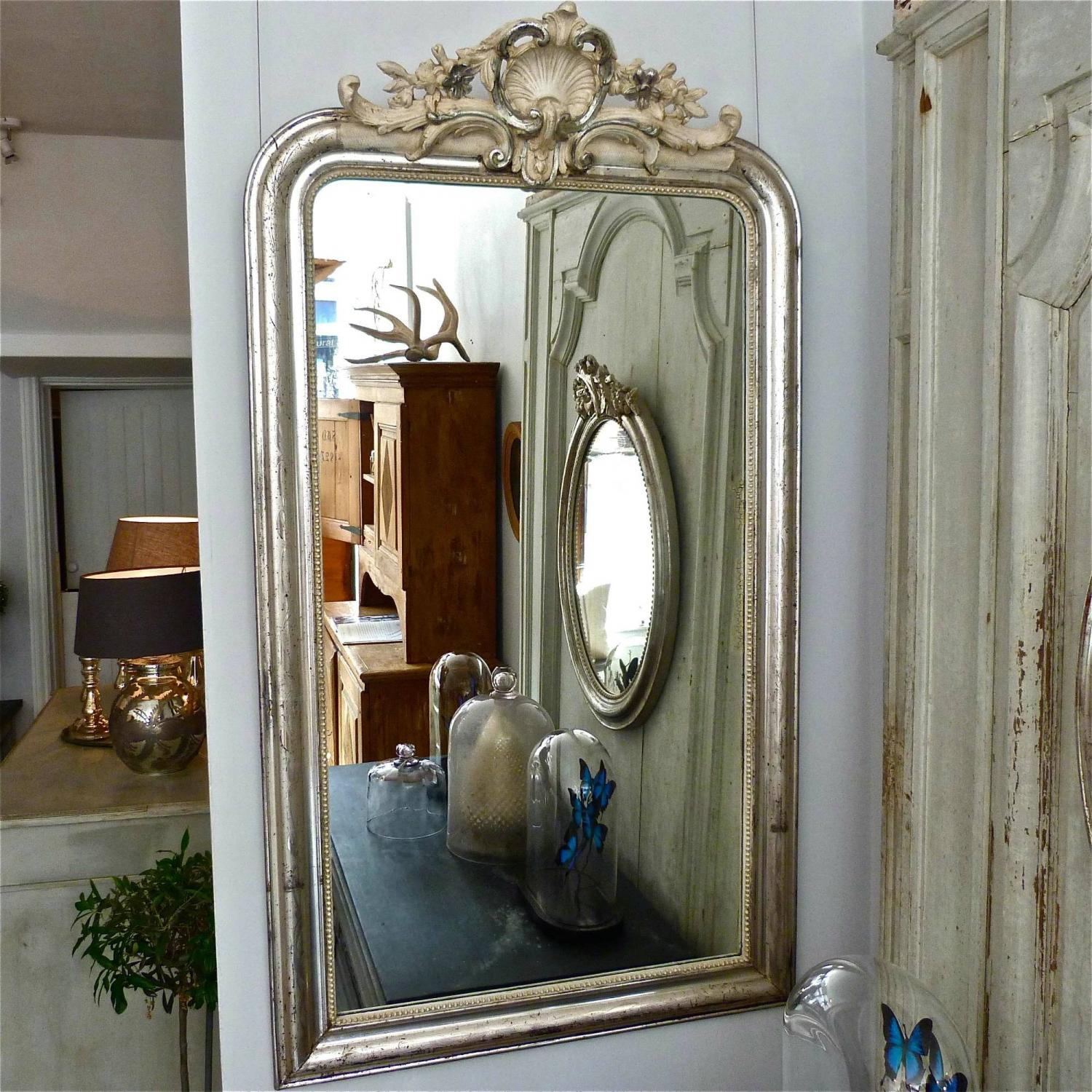 MAGNIFICENT CRESTED SILVER LOUIS PHILIPPE MIRROR