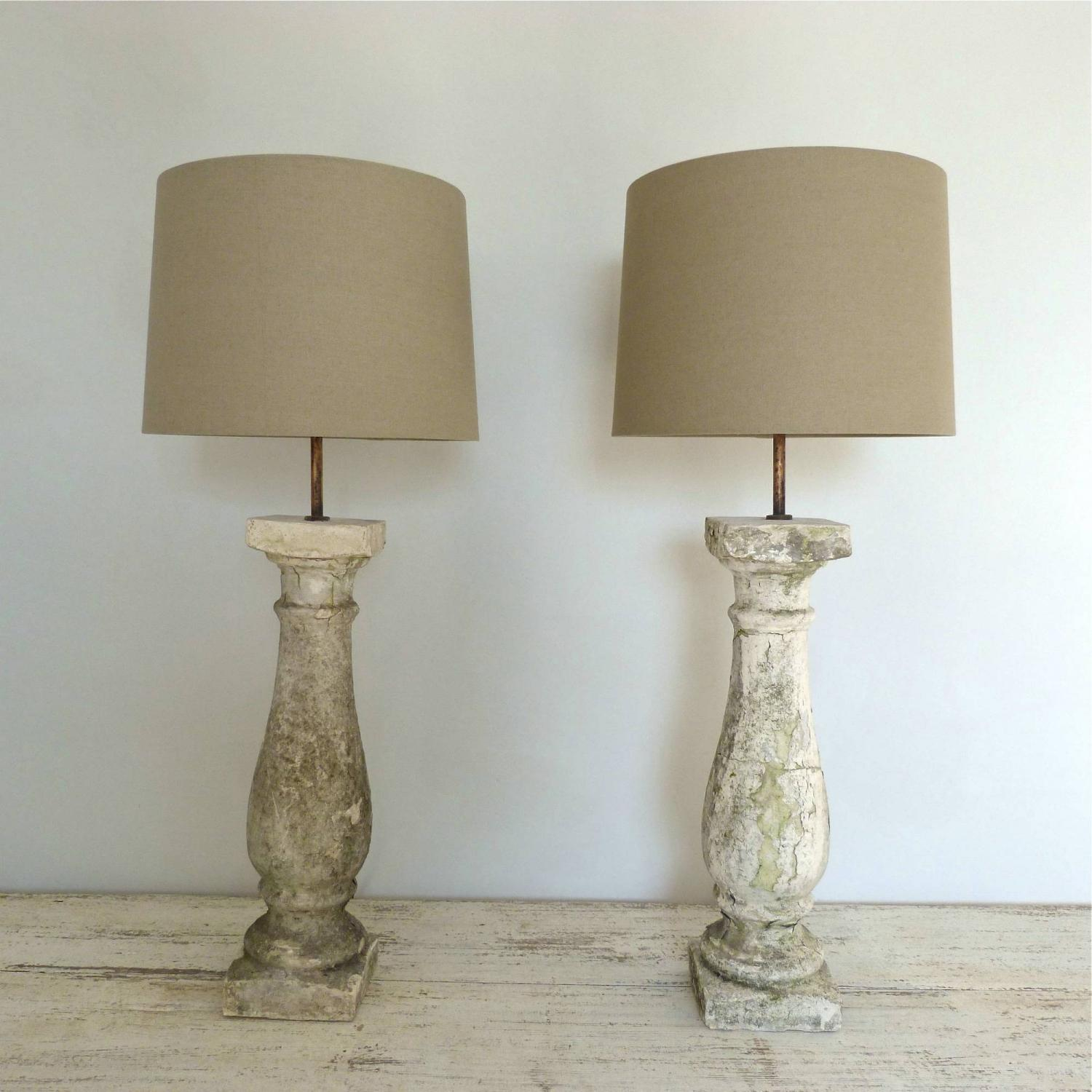 PAIR OF ANTIQUE STONE BALUSTRADE LAMPS