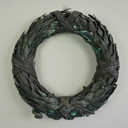ANTIQUE BRASS WREATH WITH STUNNING VERDIGRIS PATINA