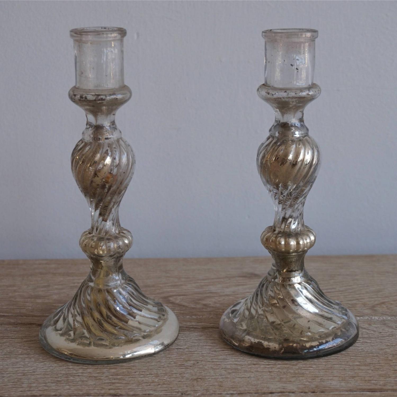 PAIR OF SPIRAL TWIST MERCURY GLASS CANDLESTICKS