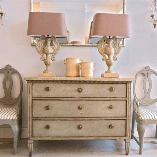 RARE SWEDISH GUSTAVIAN CHEST WITH ORIGINAL MARBLE TOP