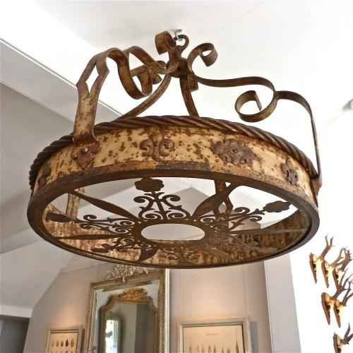 19TH CENTURY IRON CORONA CEILING LIGHT