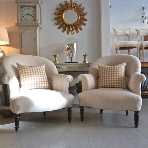 PAIR OF NAPOLEON III STYLE ARMCHAIRS IN NATURAL LINEN