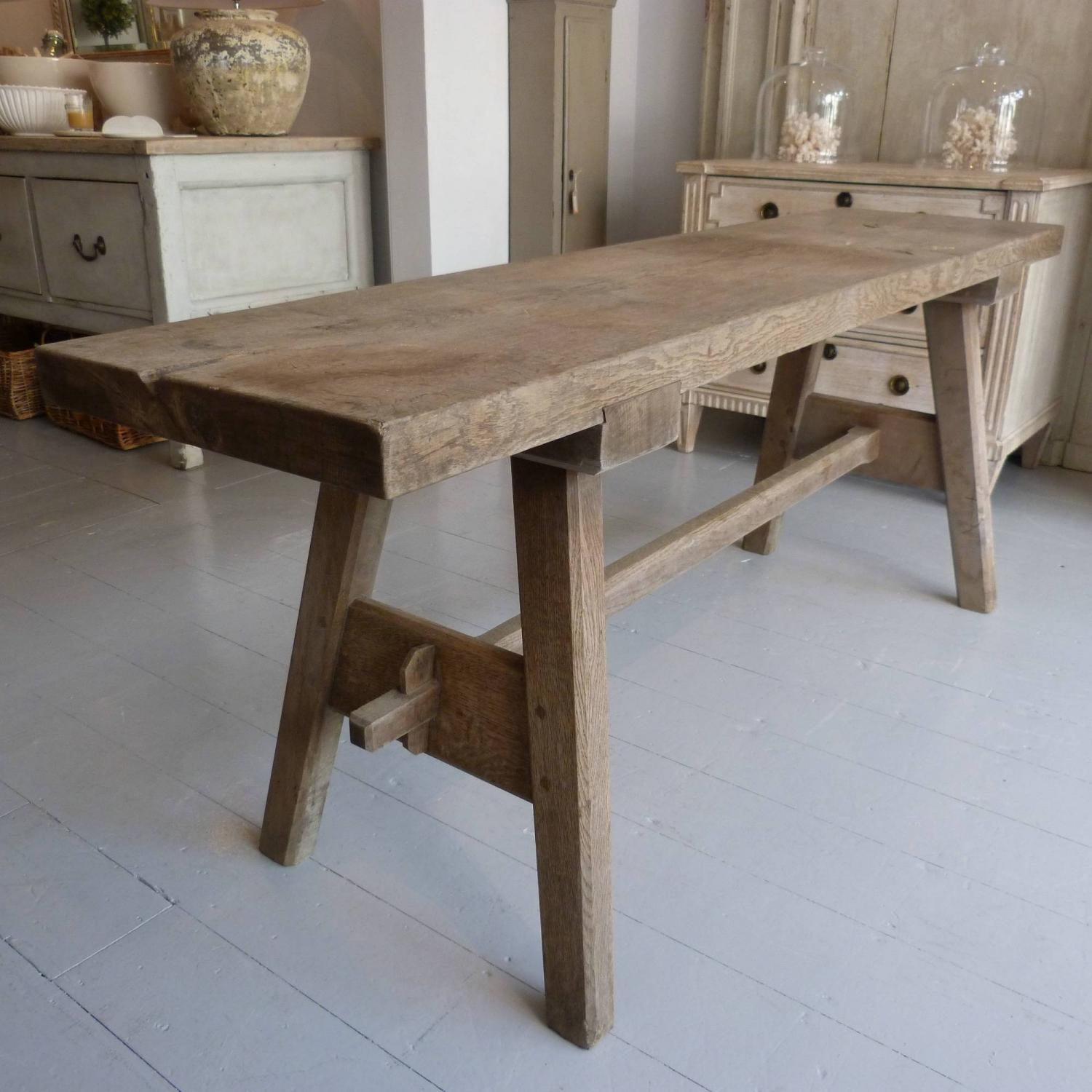 19TH CENTURY FRENCH OAK TRESTLE CONSOLE TABLE