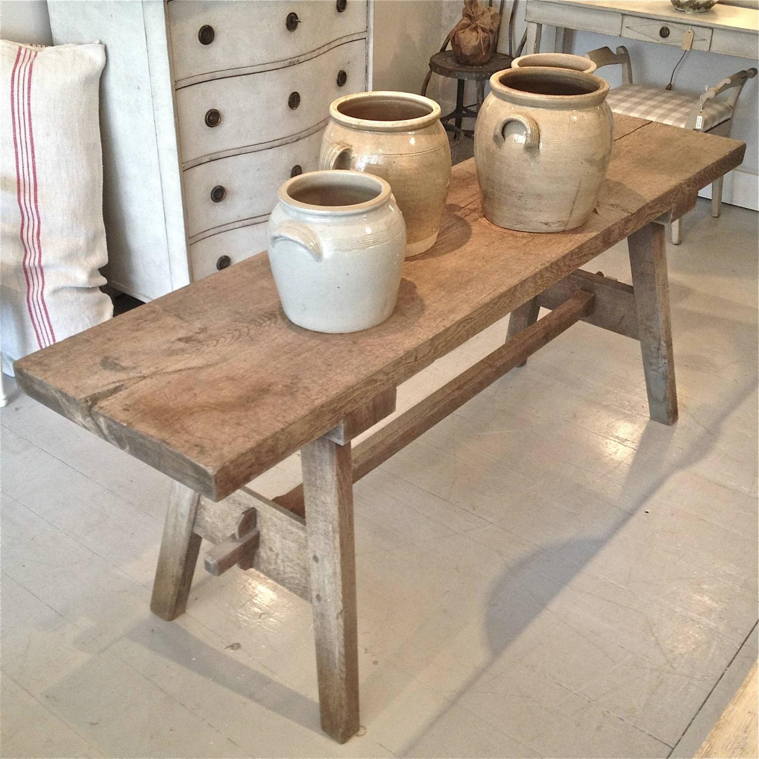 ... 19TH CENTURY FRENCH OAK TRESTLE CONSOLE TABLE   Picture 2 ...