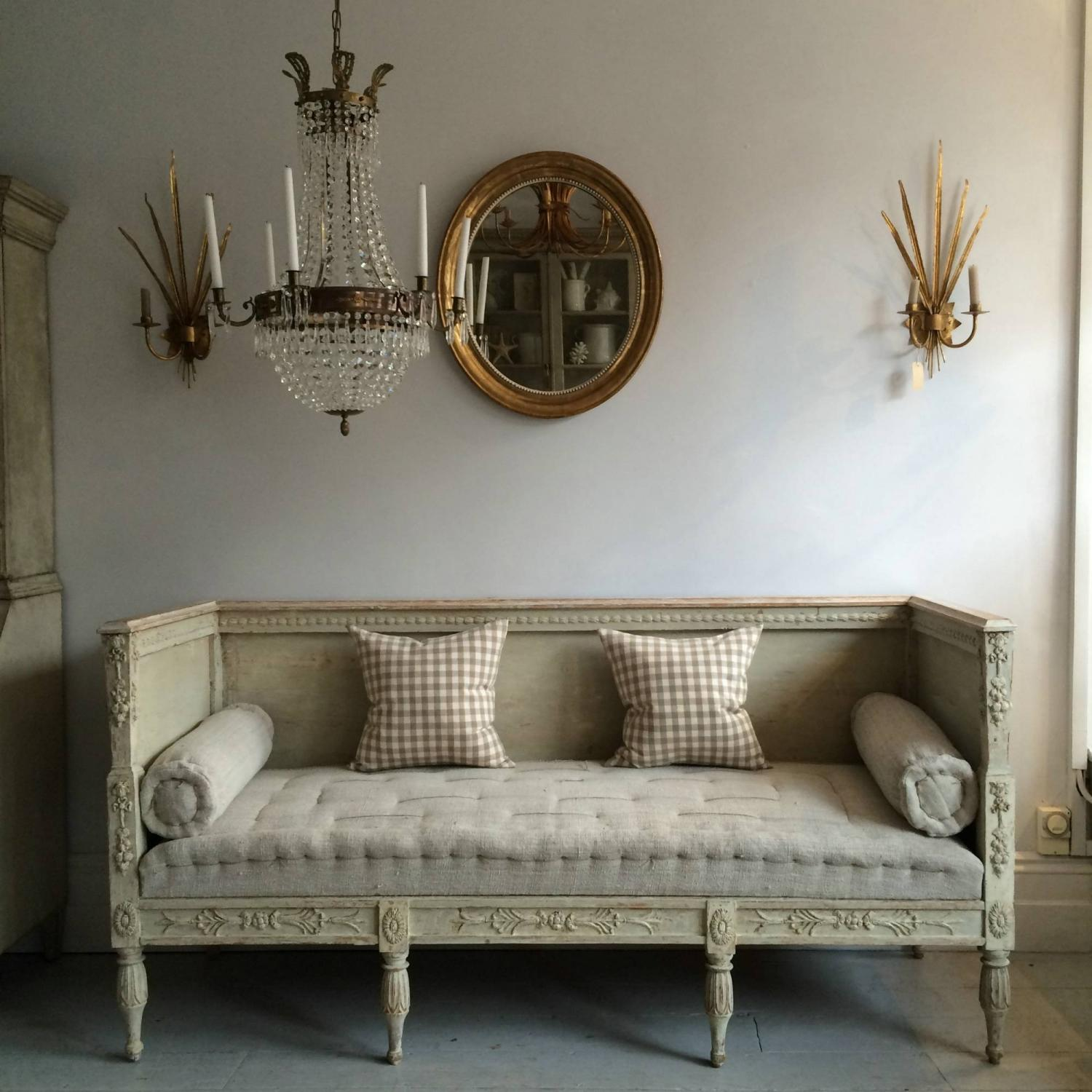 Magnificent Richly Carved Gustavian Sofa In Original Colour Squirreltailoven Fun Painted Chair Ideas Images Squirreltailovenorg