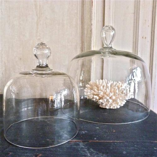 VICTORIAN GLASS CLOCHES WITH FLOWER ETCHED HANDLE