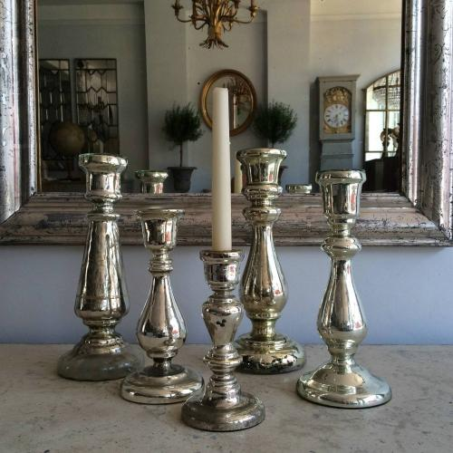 COLLECTION OF 19TH CENTURY MERCURY GLASS CANDLESTICKS