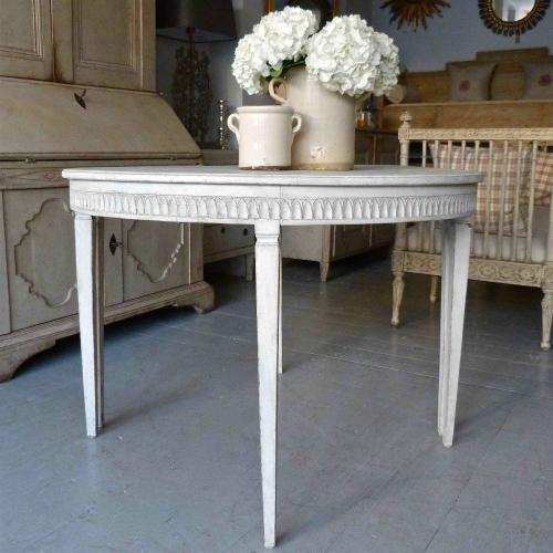 PAIR OF SWEDISH GUSTAVIAN DEMI-LUNE CONSOLE TABLES
