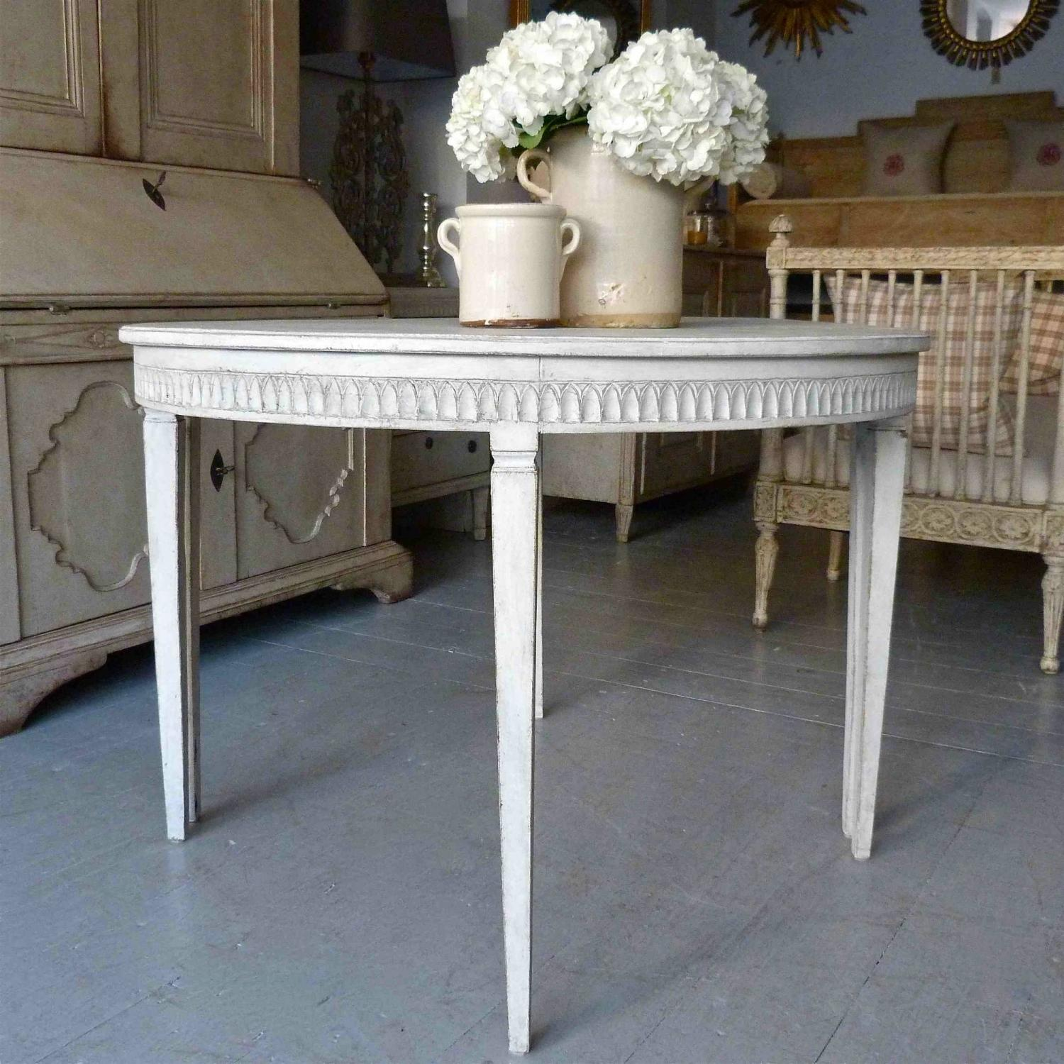 PAIR OF SWEDISH GUSTAVIAN DEMI-LUNE CONSOLE TABLES in FURNITURE
