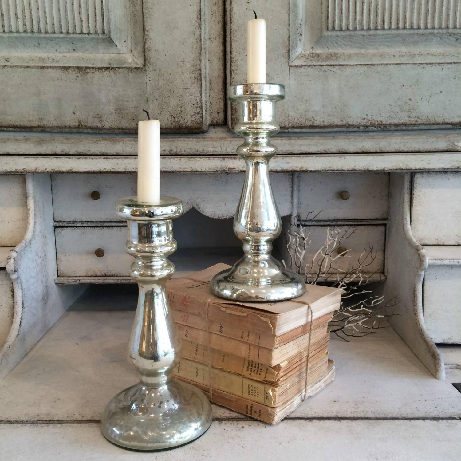 PAIR OF 19TH CENTURY MERCURY GLASS CANDLESTICKS