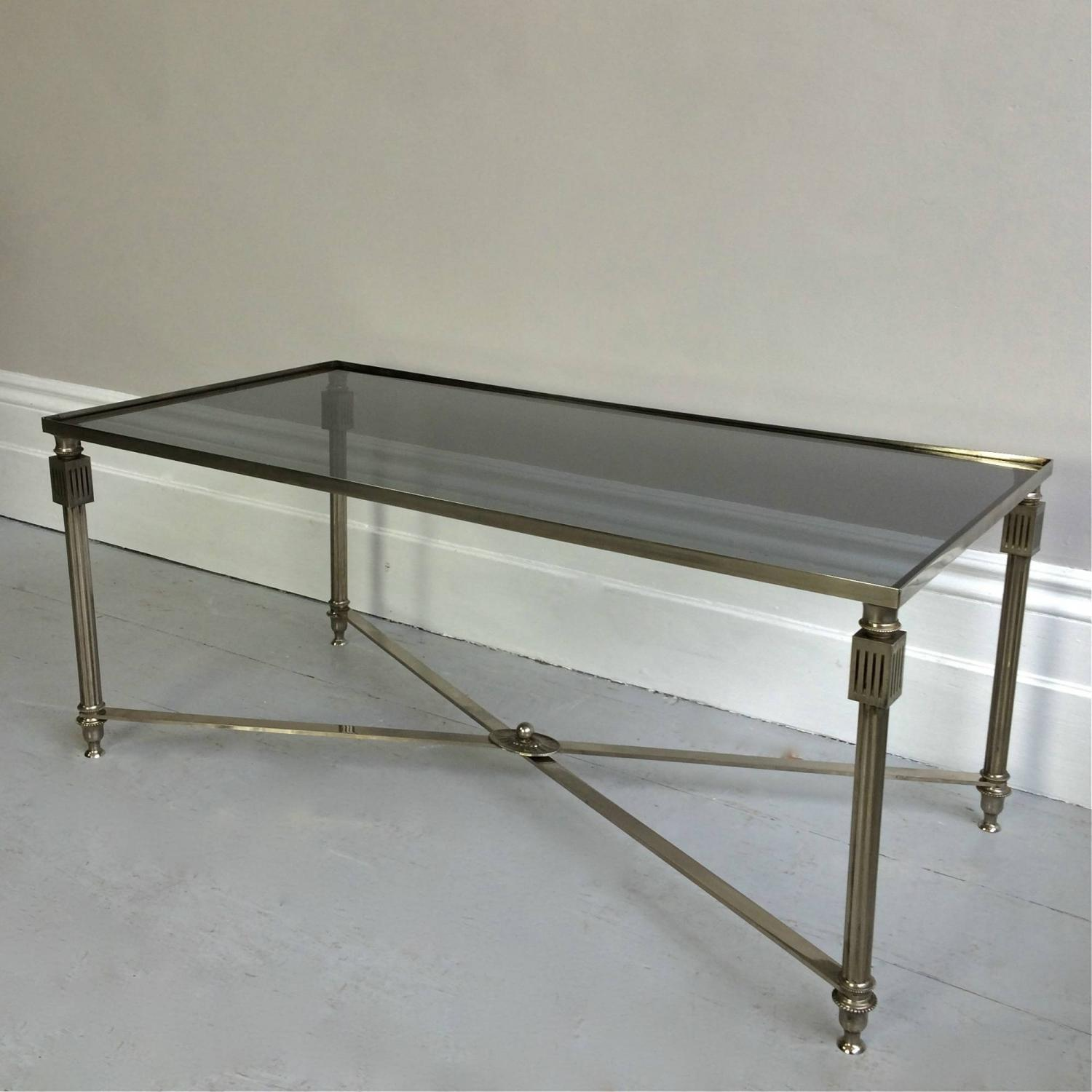 VERY FINE VINTAGE FRENCH NICKEL COFFEE TABLE