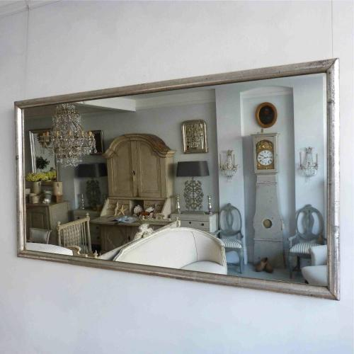 LARGE SILVER FRENCH BISTRO MIRROR WITH ORIGINAL GLASS