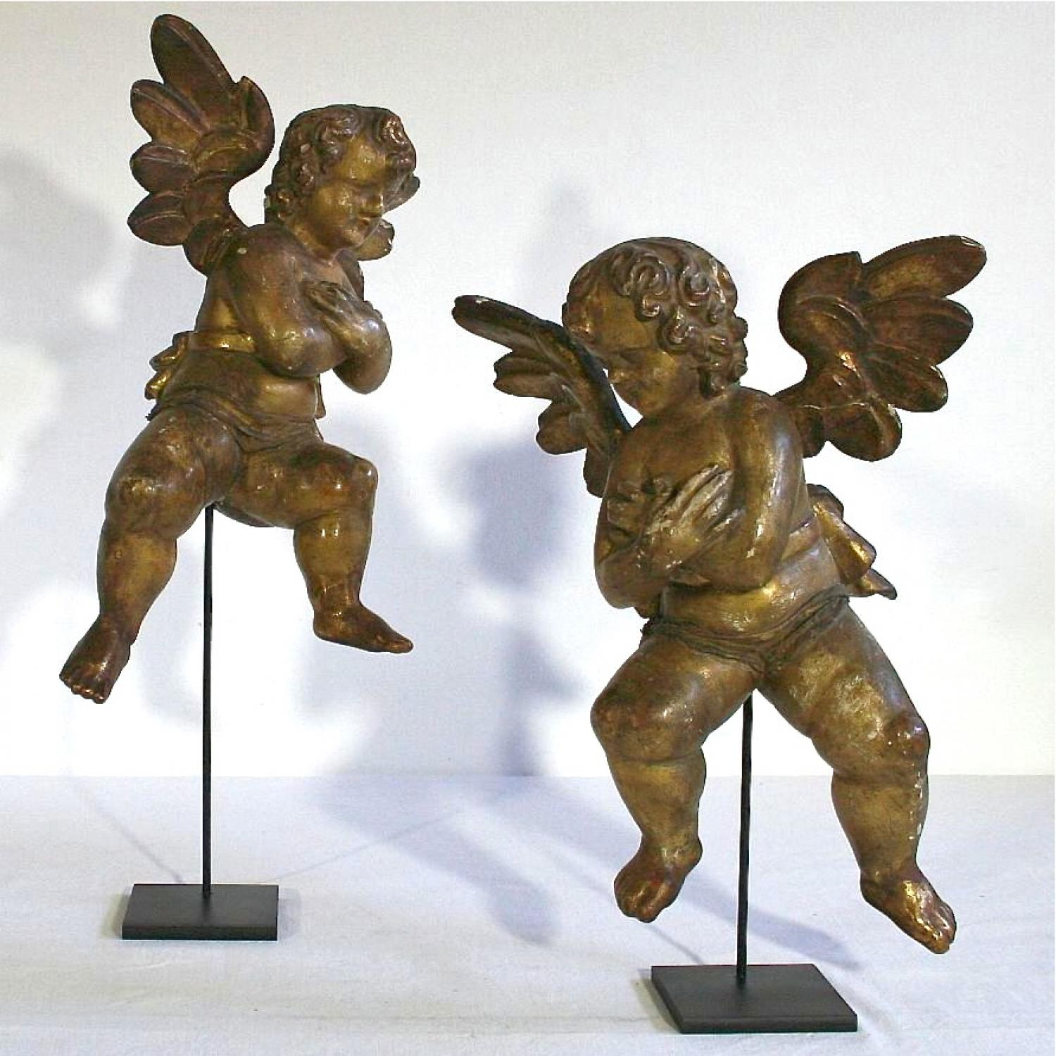 PAIR OF RARE 18TH CENTURY GILDED ITALIAN ANGELS