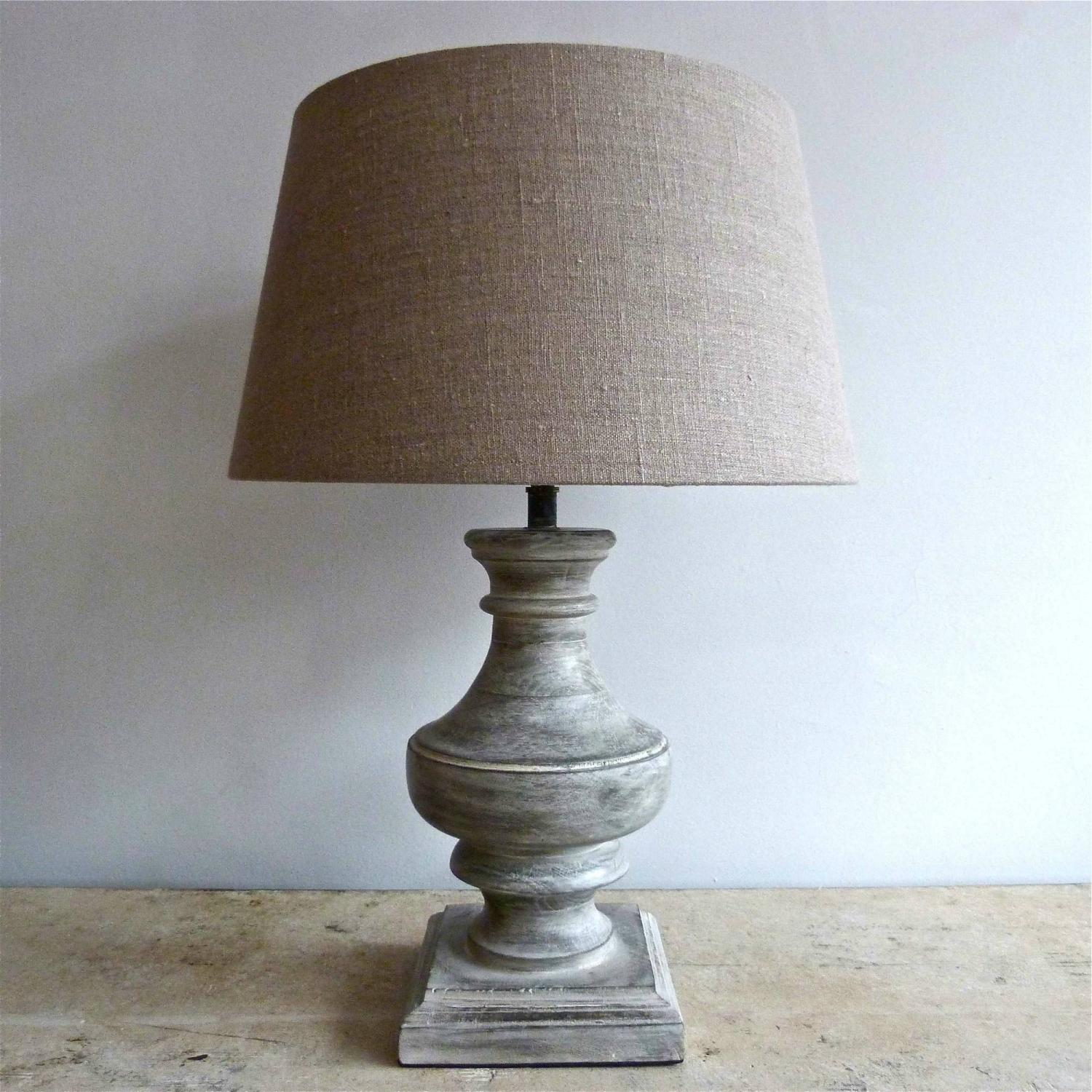 PAIR OF LIGHT GREY WOODEN TABLE LAMPS
