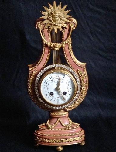 19TH CENTURY FRENCH LYRE MARBLE & ORMOLU CLOCK