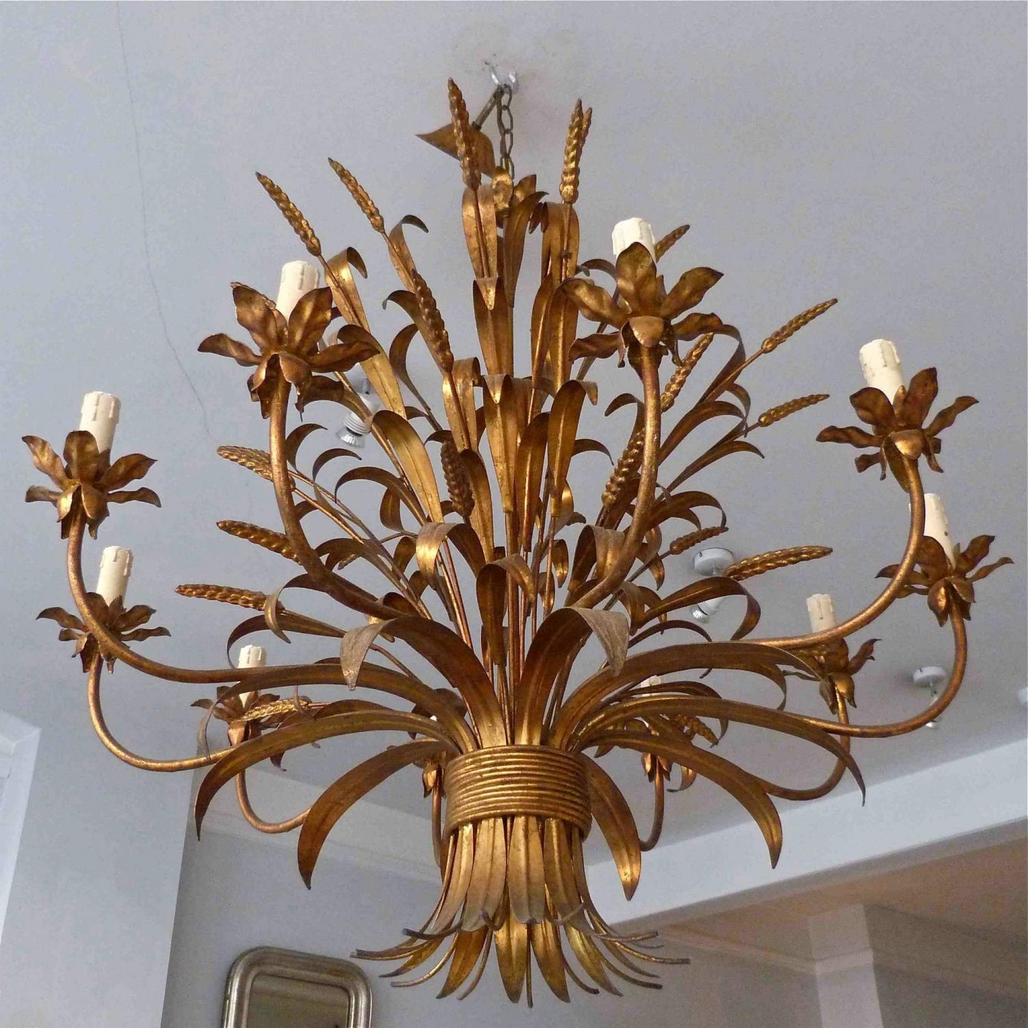 LARGE 10 ARM VINTAGE GILT WHEATSHEAF CHANDELIER