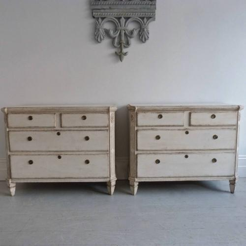 PAIR OF LARGE SWEDISH GUSTAVIAN PERIOD COMMODES