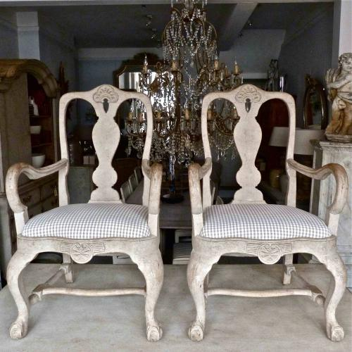 PAIR OF 19TH CENTURY SWEDISH ROCOCO STYLE ARMCHAIRS