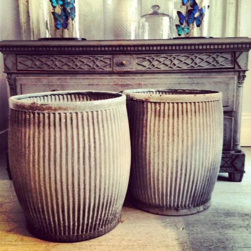 PAIR OF VINTAGE ZINC DOLLY TUBS