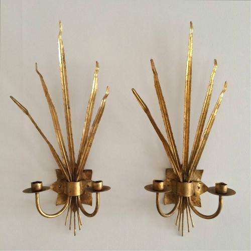 BEAUTIFUL PAIR OF 1950'S FRENCH REEDED WALL SCONCES