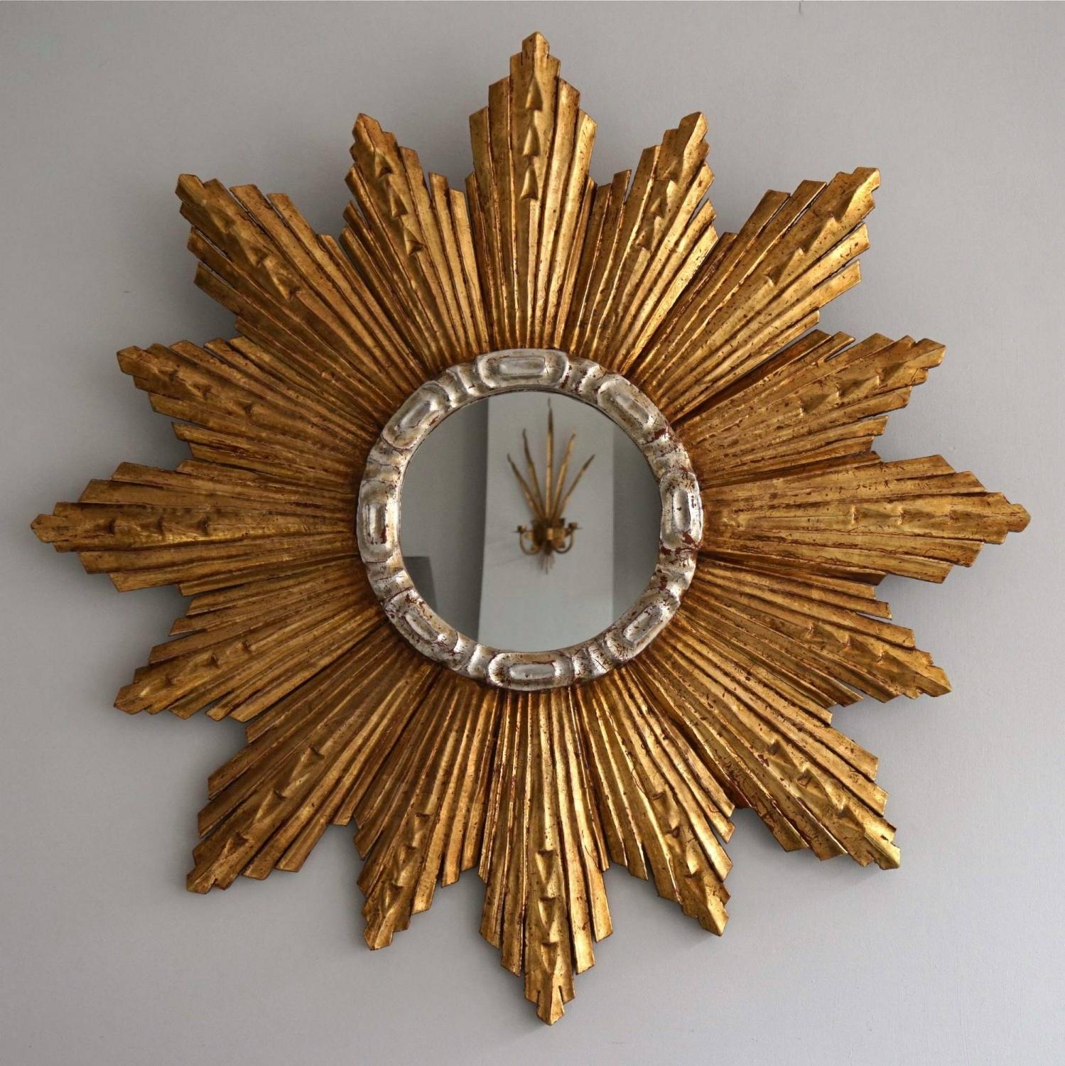 EXTRAORDINARY GRAND SCALE 1950'S SUNBURST MIRROR