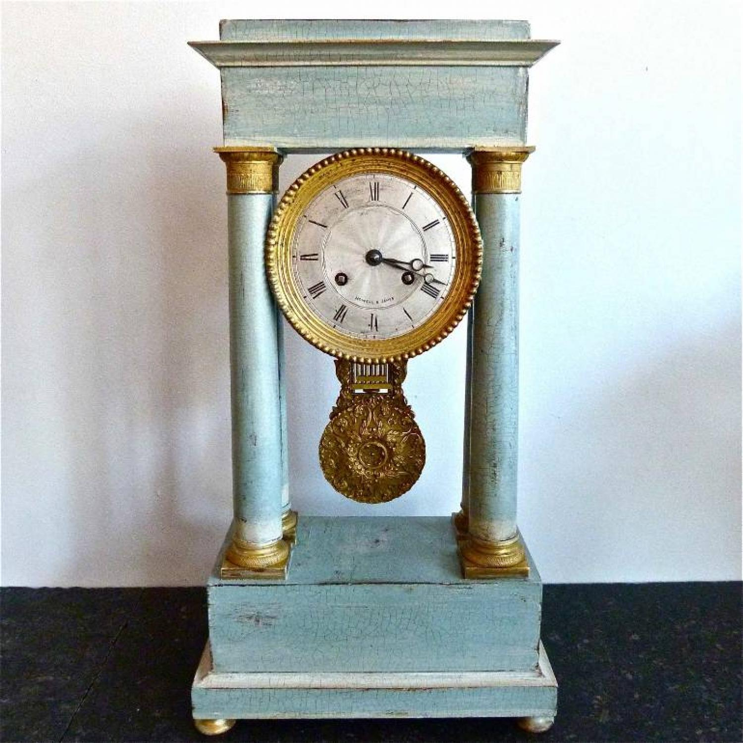 19TH CENTURY FRENCH GRIDIRON PENDULUM MANTLE CLOCK