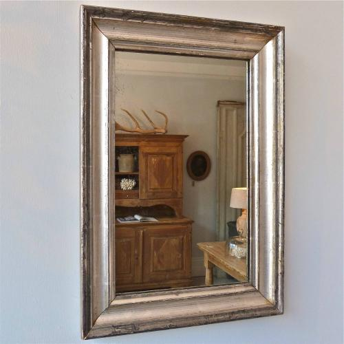 SMALL 19TH CENTURY SILVERED LOUIS PHILIPPE MIRROR