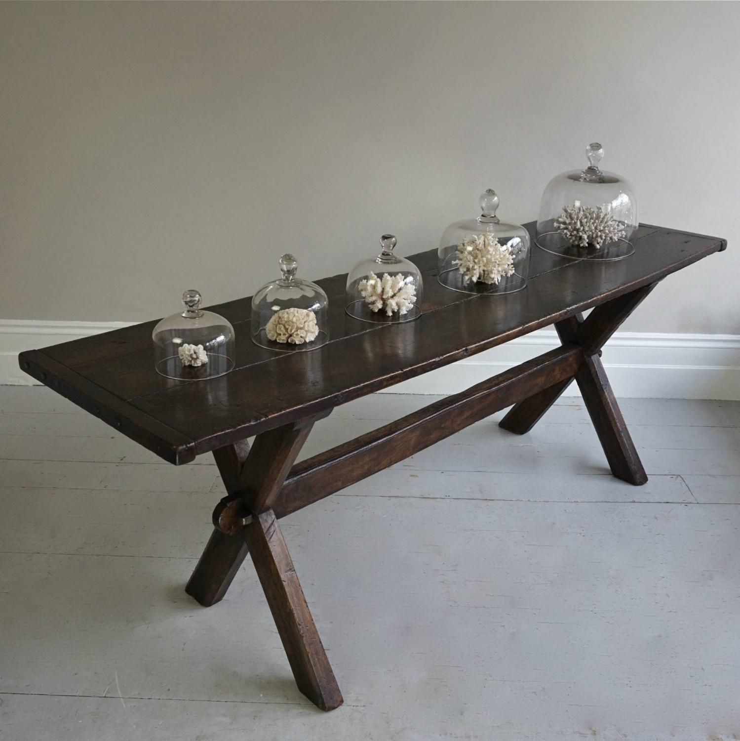EARLY 19TH CENTURY ENGLISH OAK TRESTLE TABLE
