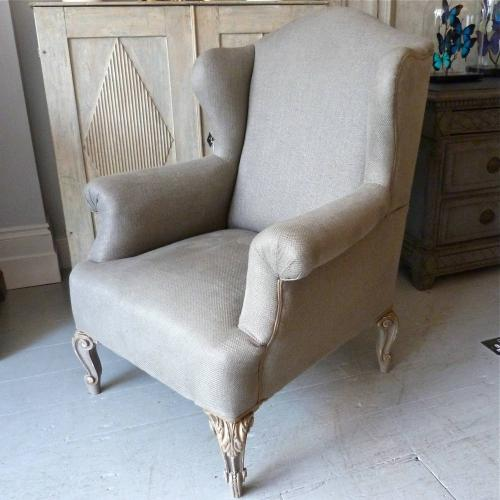 PAIR OF LATE 19TH CENTURY FRENCH WING BACK ARMCHAIRS