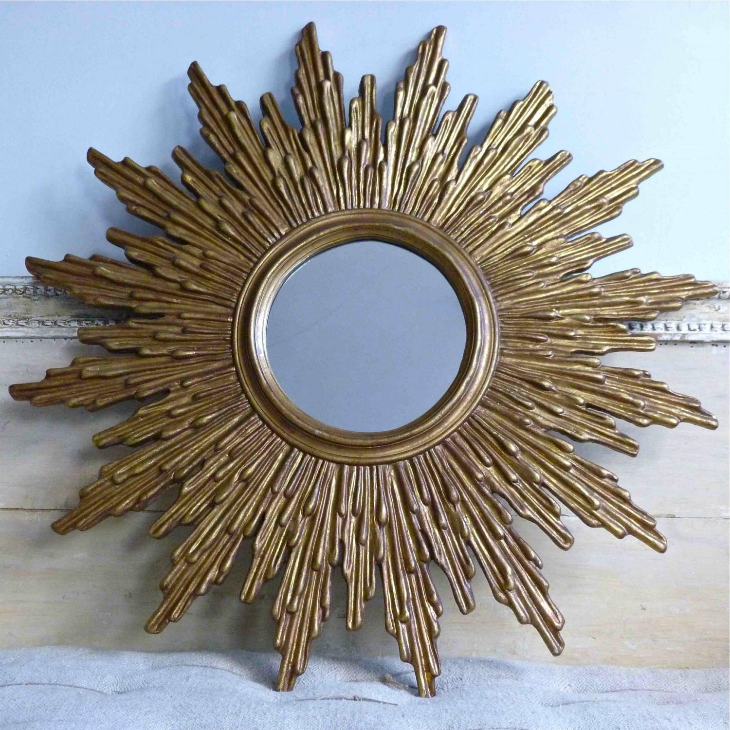 VERY LARGE 1960`s GILT SUNBURST MIRROR
