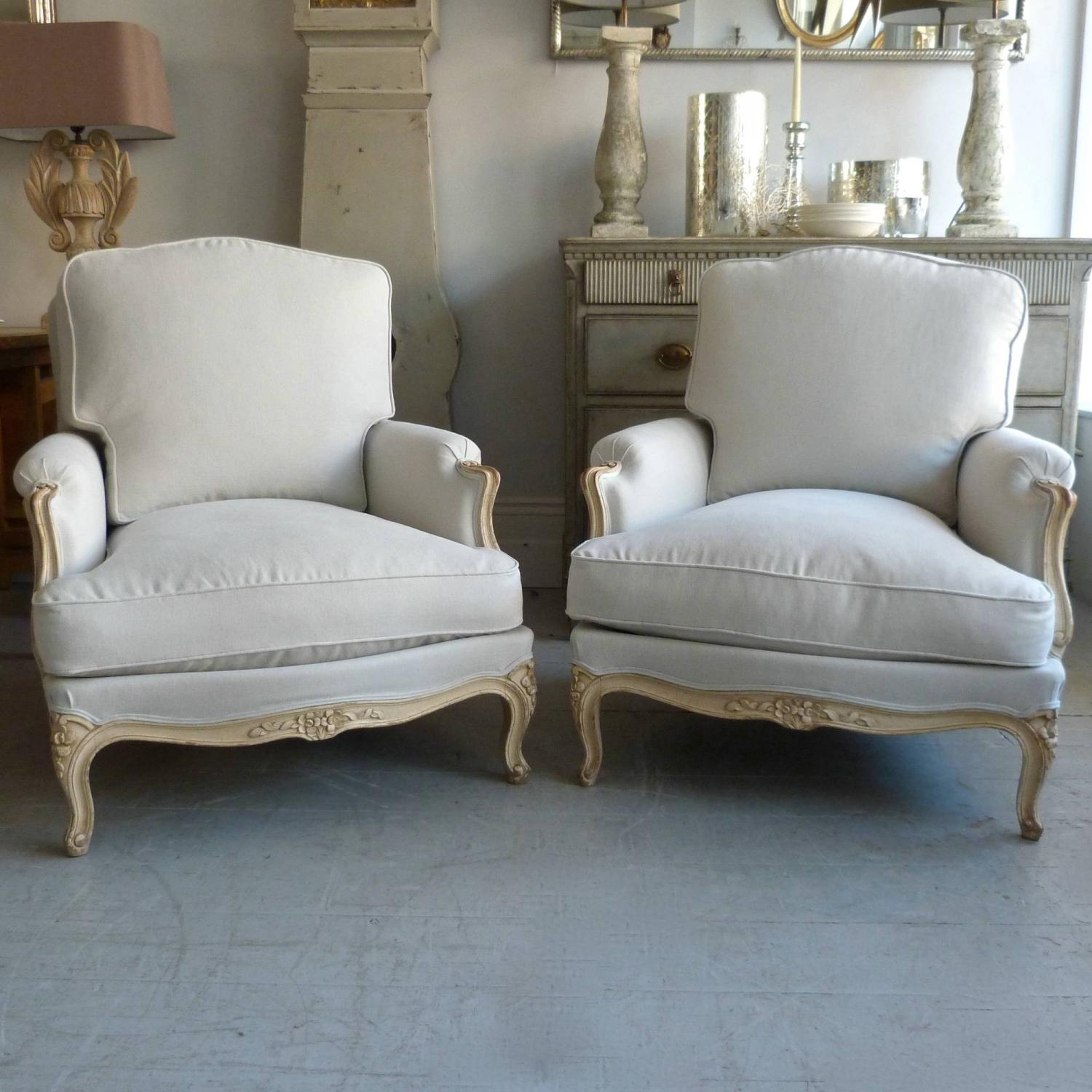 FINE PAIR OF FRENCH BERGERE ARMCHAIRS IN ORIGINAL PAINT