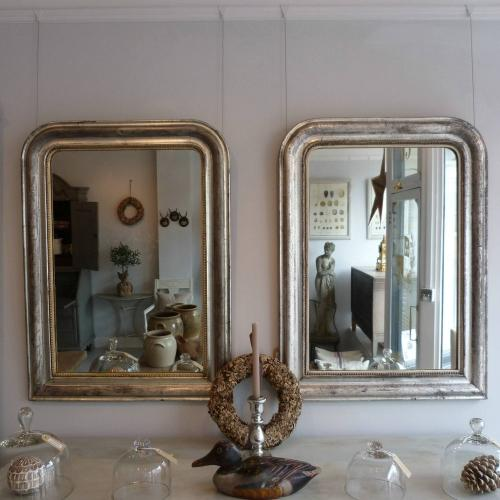 PAIR OF 19TH CENTURY SILVER LOUIS PHILIPPE MIRRORS