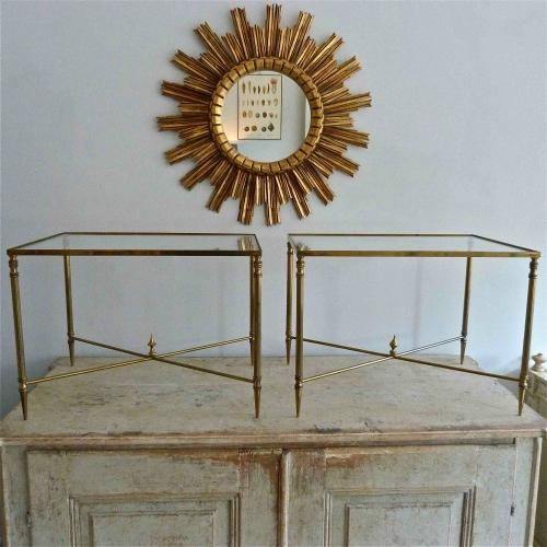 PAIR OF VERY FINE 1930`s SOLID BRASS FRENCH NESTING TABLES