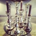 SET OF SEVEN 19TH CENTURY MERCURY GLASS CANDLESTICKS - picture 1