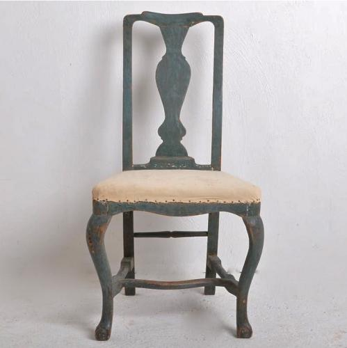 SWEDISH BAROQUE CHAIR IN STUNNING ORIGINAL PAINT