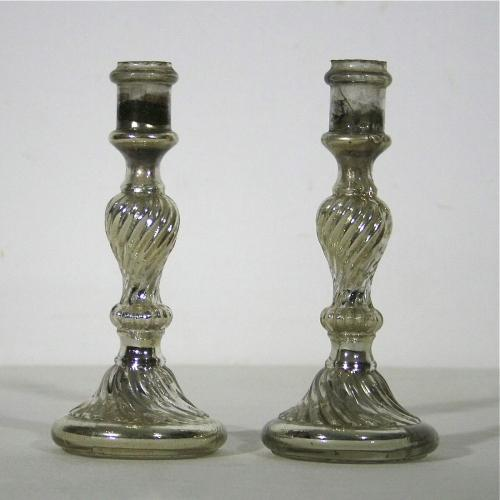 PAIR OF FRENCH MERCURY GLASS CANDLESTICKS