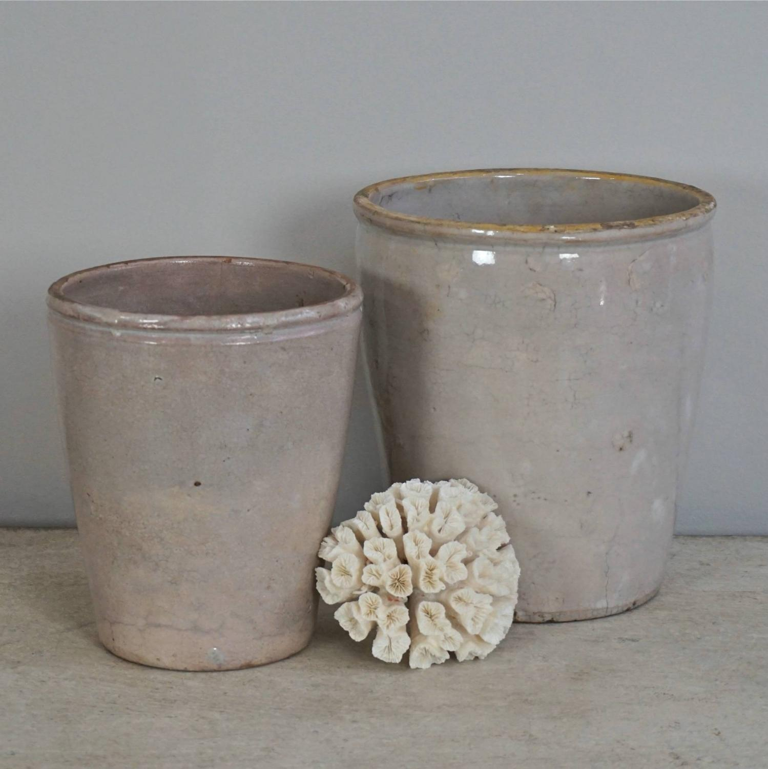 TWO 19TH CENTURY ITALIAN GLAZED CONFIT POTS