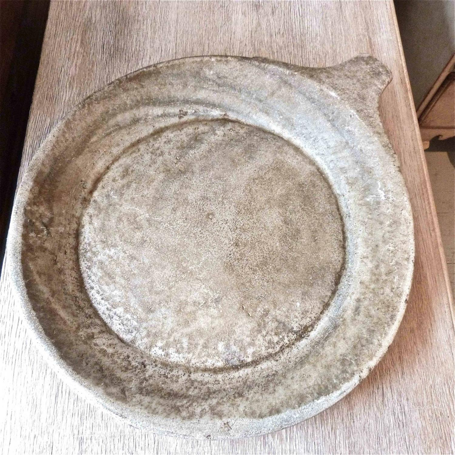 ANTIQUE CARVED STONE RAJASTHAN SERVING BOWL