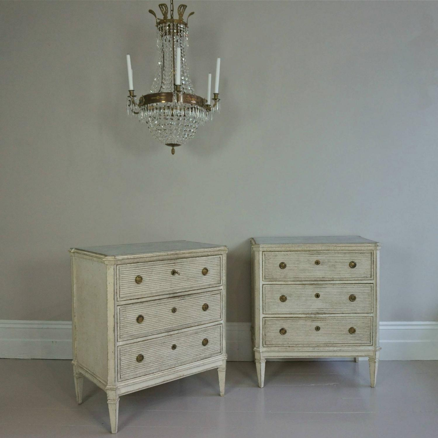 PAIR OF RICHLY CARVED SWEDISH GUSTAVIAN STYLE CHESTS