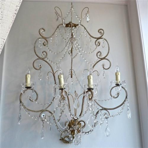INCREDIBLE PAIR OF BEADED & DROPLET WALL SCONCES
