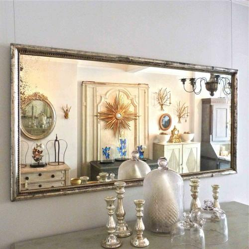 RARE FRENCH SILVER BISTRO MIRROR WITH BEADED TRIM