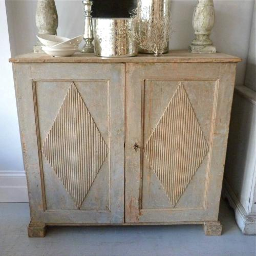 SWEDISH GUSTAVIAN BUFFET IN ORIGINAL PALE BLUE PAINT