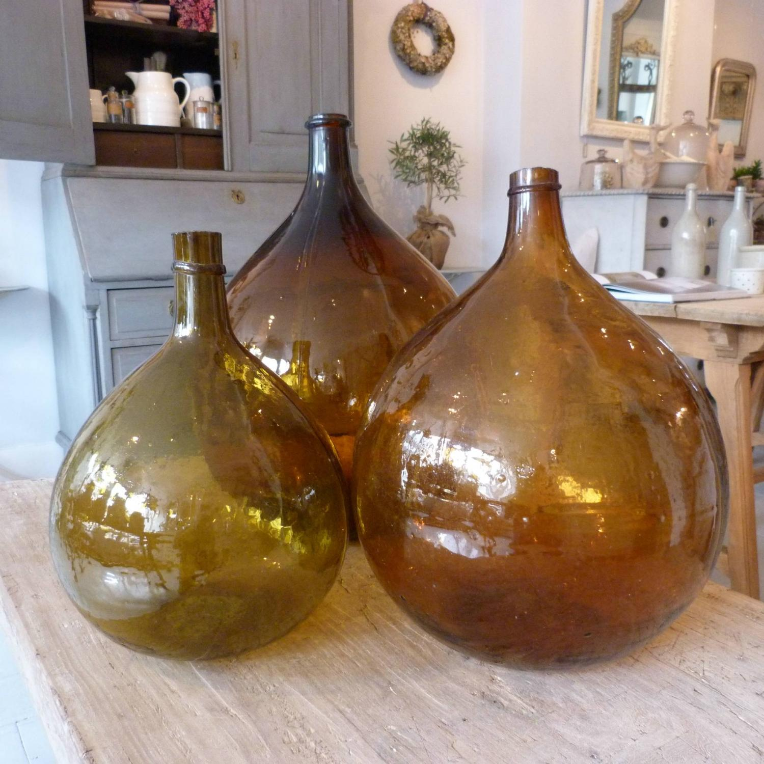 SET OF 3 MARON DEMI-JOHN BOTTLES