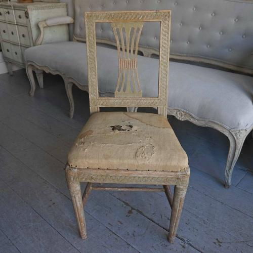 PERIOD GUSTAVIAN CHAIR IN ORIGINAL GREEN PAINT